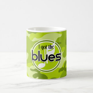 Blues; bright green camo, camouflage classic white coffee mug