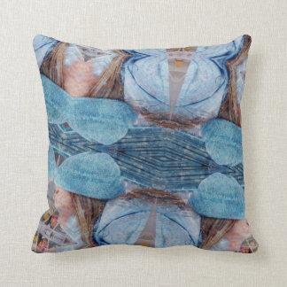Blues Browns Digital Abstract Art Throw Pillow