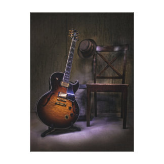 Blues Guitar and Chair Canvas Print