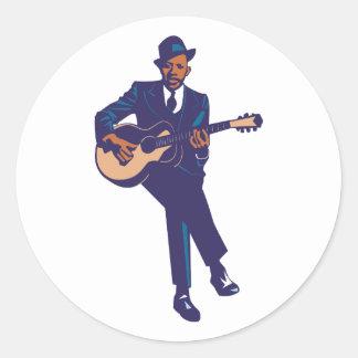 Blues guitarist guitarist classic round sticker