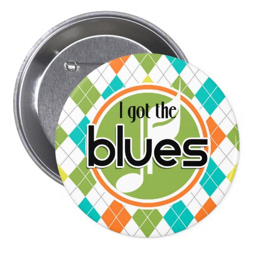 Blues Music; Colorful Argyle Pattern Buttons