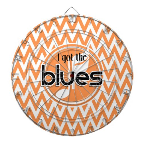 Blues Music; Orange and White Chevron Dartboards