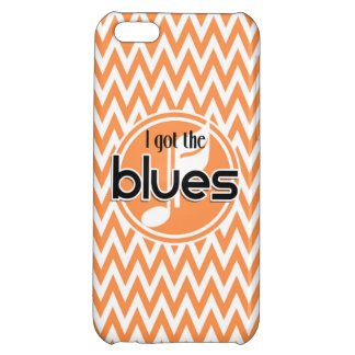 Blues Music Orange and White Chevron Cover For iPhone 5C