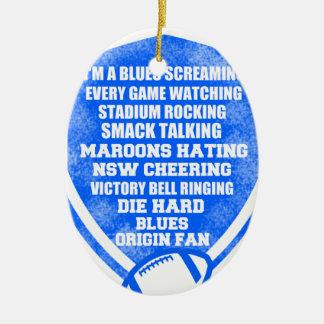 blues origin fan ceramic oval decoration