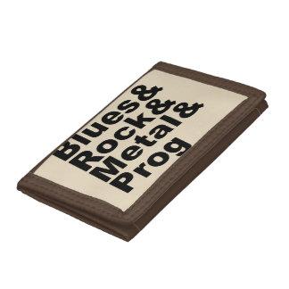 Blues&Rock&Metal&Prog (blk) Trifold Wallet