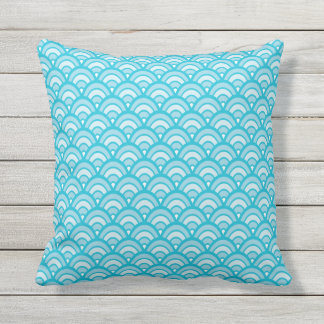 Blues Scallop Pattern All Textures Outdoor Cushion