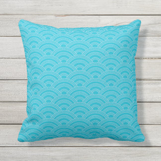 Blues Scallop Stitch Pattern All Textures Outdoor Cushion