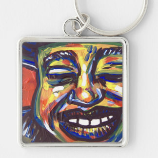 blues smile Silver-Colored square key ring