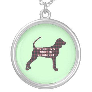 Bluetick Coonhound BFF Round Pendant Necklace