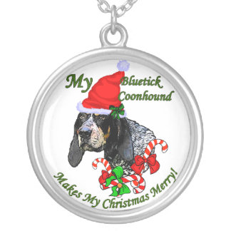 Bluetick Coonhound Christmas Gifts Round Pendant Necklace