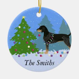 Bluetick Coonhound Decorating Christmas Tree Ceramic Ornament