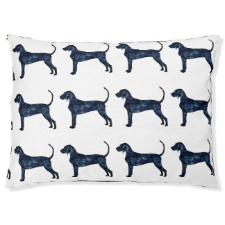 Bluetick Coonhound Dog Black Watercolor Silhouette Pet Bed