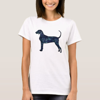 Bluetick Coonhound Dog Black Watercolor Silhouette T-Shirt