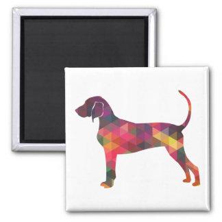 Bluetick Coonhound Dog Geometric Silhouette Magnet