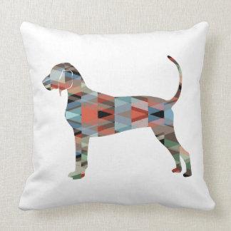 Bluetick Coonhound Geometric Pattern Silhouette Cushion