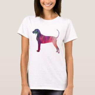 Bluetick Coonhound Geometric Pattern Silhouette T-Shirt