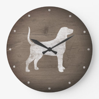 Bluetick Coonhound Silhouette Rustic Style Large Clock