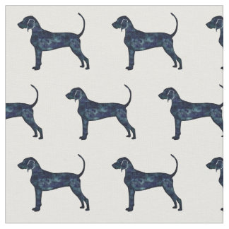 Bluetick Coonhound Silhouette Tiled Fabric