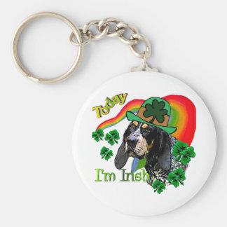 Bluetick Coonhound St Patricks Basic Round Button Key Ring