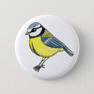 Bluetit cut out 6 cm round badge