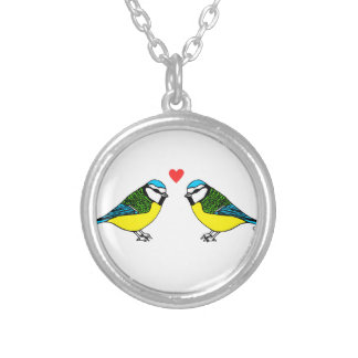 Bluetits In Love Silver Plated Necklace