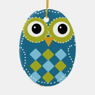 Blue'Z  the Adorable Owl Double-Sided Oval Ceramic Christmas Ornament