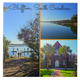 Bluffton South Carolina Lowcountry Collage Large Square Tile