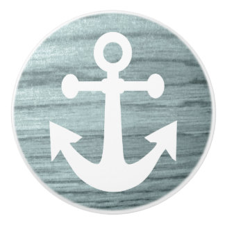 Bluish Aged Wood Look Print with Nautical Anchor Ceramic Knob