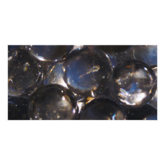 Bluish Glass Pebbles - abstract photograph Customized Photo Card