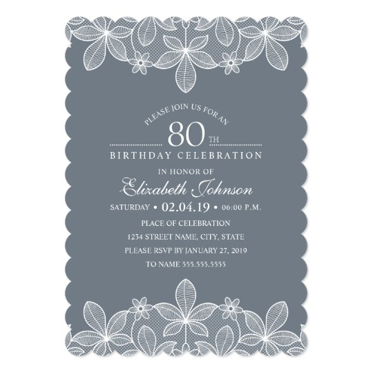 Bluish Grey 80th Birthday Party Creative Lace Card