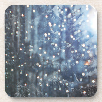 Bluish Pine Tree And Some Melting Snowflakes Coaster