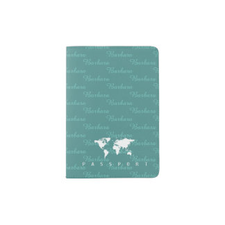bluish travel passport cover with name pattern