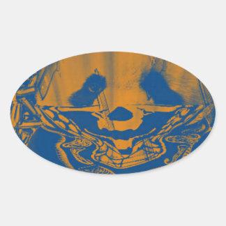 Bluish Yellow Gangsta Panda Oval Sticker