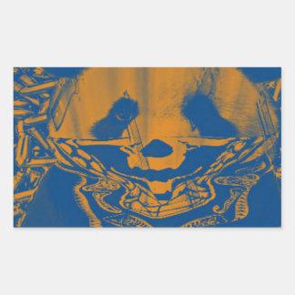 Bluish Yellow Gangsta Panda Rectangular Sticker