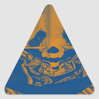 Bluish Yellow Gangsta Panda Triangle Sticker