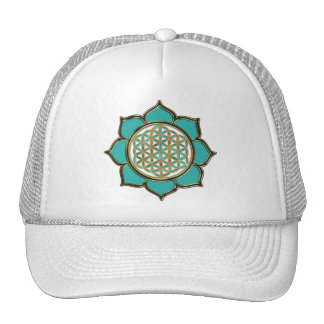 Blume des Lebens Lotus türkis Cap