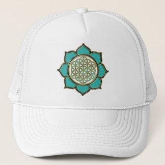 Blume des Lebens Lotus türkis Trucker Hat