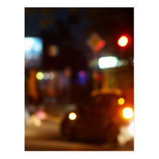 Blur and defocused lights from the headlights postcard