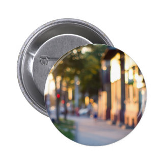 Blurred and out of focus image of streets 6 cm round badge