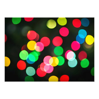 Blurred Christmas lights (horizontal) Custom Invitations