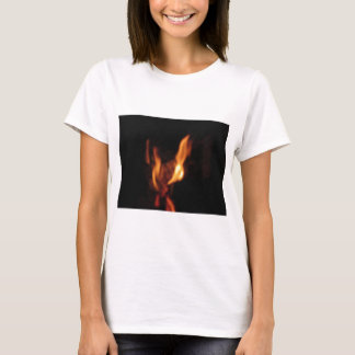Blurred flames in a burning fireplace on black T-Shirt