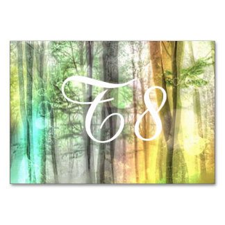 Blurred forest table cards