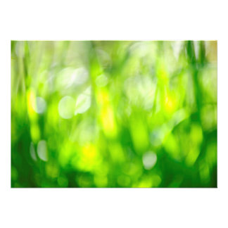 Blurred green background personalized invitations
