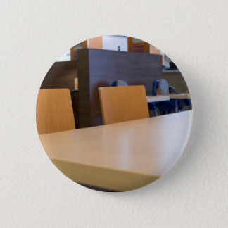 Blurred image of the interior cafe 6 cm round badge