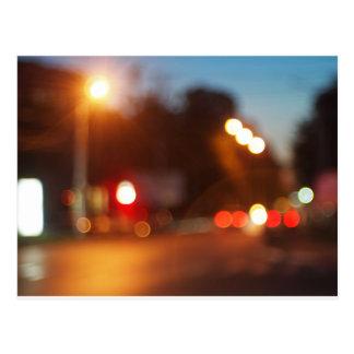 Blurred lights of cars postcard