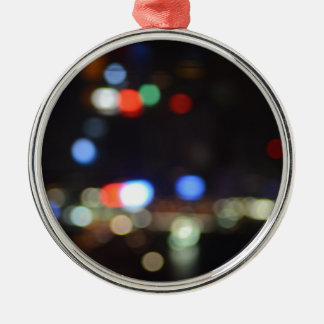 Blurred Night Lights of Hong Kong Metal Ornament