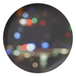 Blurred Night Lights of Hong Kong Plate