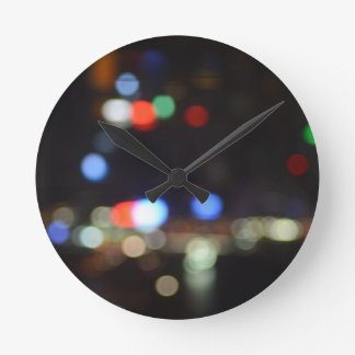 Blurred Night Lights of Hong Kong Round Clock