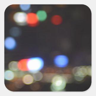 Blurred Night Lights of Hong Kong Square Sticker