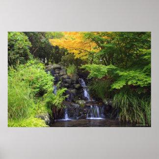 Blurred Rock Waterfall, Maple Green & Orange Trees Poster
